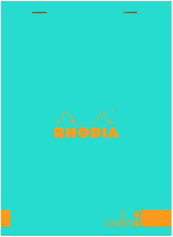 Rhodia - ColorR Premium Stapled Notepad, Turquoise, Lined, 6 x 8 1/4