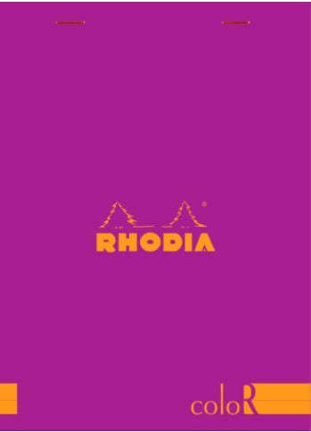 Rhodia - ColorR Premium Stapled Notepad, Raspberry, Lined, 6 x 8 1/4