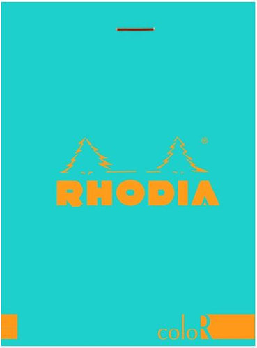 Rhodia - ColorR Premium Stapled Notepad, Turquoise, Lined, 3 3/8 x 4 3/4