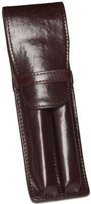 Aston Leather 2 Pen Holder Brown