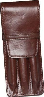 Aston Leather 3 Pen Holder Brown