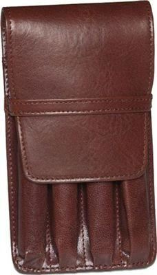 Aston Leather 4 Pen Holder Brown