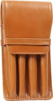 Aston Leather 4 Pen Holder Tan