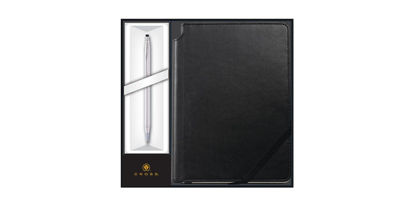 Cross Classic Century Lustrous Chrome Black Journal w/Ballpoint Pen Set