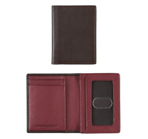 Gusseted Card Case - Brown/burgundy - Leather