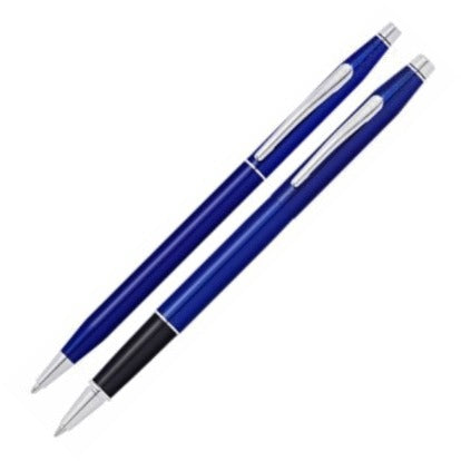 Cross Classic Century Translucent Blue Lacquer Ballpoint and Rollerball Pen Gift Set