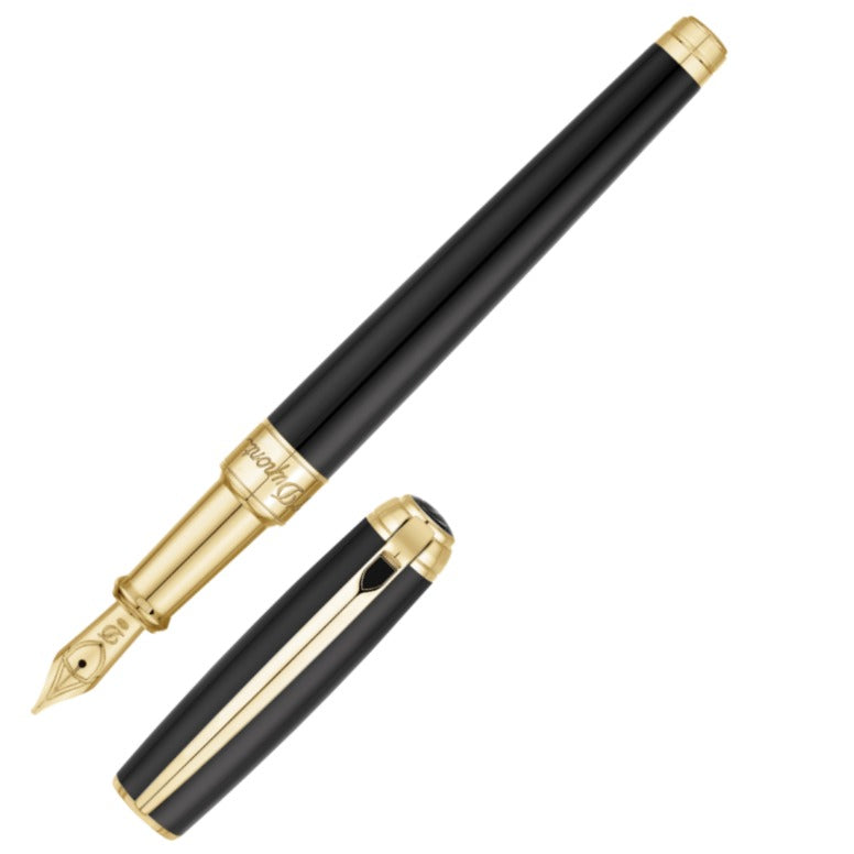 ST Dupont Line D Medium Black & Gold Fountain Pen