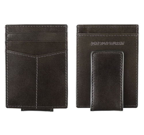 Italian Leather Front Pocket Wallet - Charcoal
