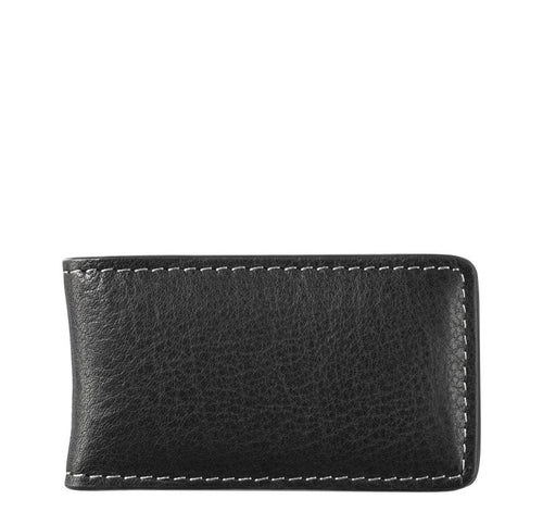 Italian Leather Magnetic Money Clip - Black