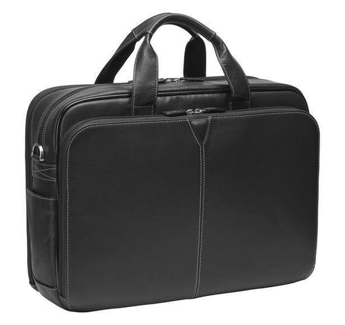 Johnston & Murphy Double Zip Briefcase - Black - Leather