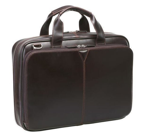 Johnston & Murphy Laptop Briefcase - Mahogany - Leather