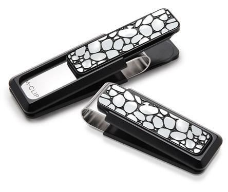 M-Clip Black Aluminum w/Black Enamel River Rock Money Clip