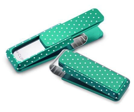 M-Clip Green Solid Slide w/Etched Polka Dots Money Clip