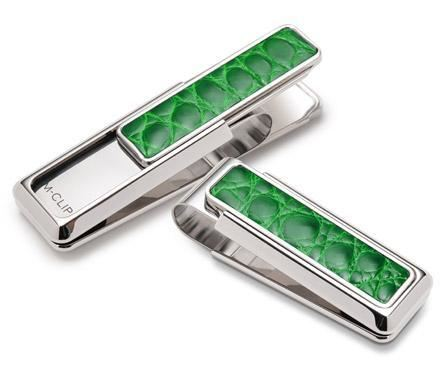 M-Clip Rhodium w/Dark Green Alligator Money Clip