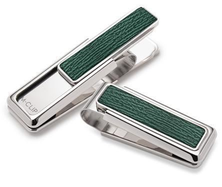 M-Clip Rhodium With Dark Green Shark Money Clip