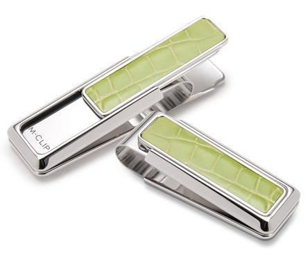 M-Clip Rhodium w/Lime Green Alligator Money Clip
