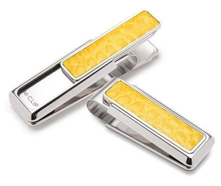 M-Clip Rhodium w/Yellow Alligator Money Clip