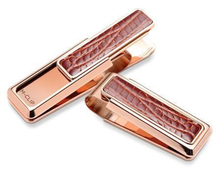 M-Clip Rose Gold Cognac Alligator Money Clip