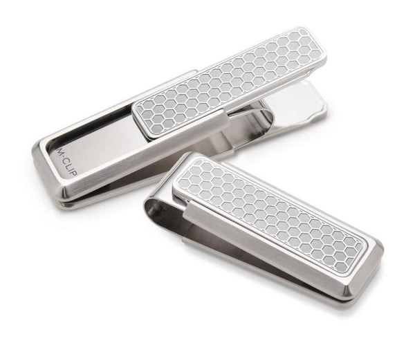 M-Clip Stainless Steel w/Brushed Honeycomb Money Clip