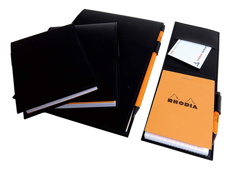 Rhodia - Pad Holder Black with Orange Graph Pad, 6 x 8 3/4