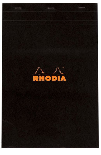 Rhodia - Classic Notepads Top Staplebound 8 ¼ x 12 ½ Blank Black 80 sheets