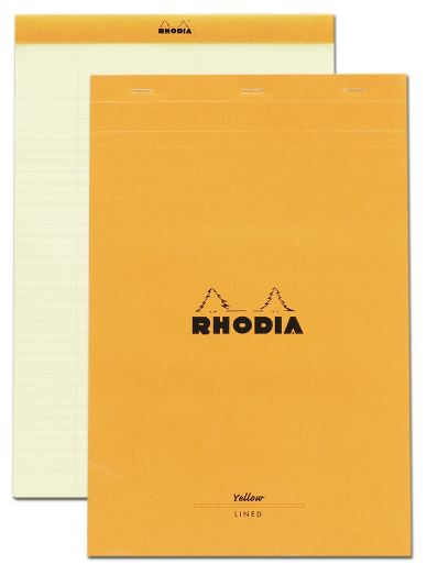 Rhodia - Classic Notepads Top Staplebound 8 ¼ x 12 ½ Lined Orange Yellow Paper 80 sheets