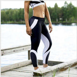 Buy the Women's Mesh Pattern Black and White Ankle-Length Workout Leggings. Shop Leggings Online - Kewlioo