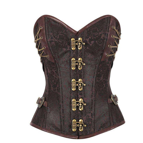Buy the La Chilly Hot 14 Steel Bone Steampunk Overbust Brown Corset with Chains / S. Shop Corsets Online - Kewlioo