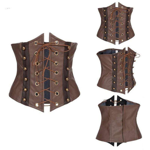 Buy the Brown Leather Underbust Corset / S. Shop Corset Online - Kewlioo