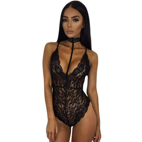 Buy the Sexy Floral Lace Party Jumpsuit / Black / S. Shop  Online - Kewlioo