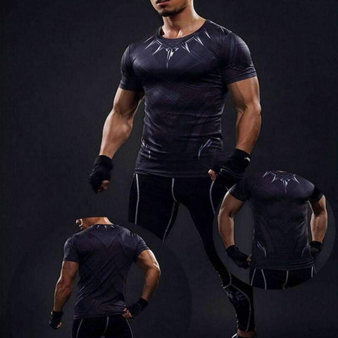 Buy the Black Panther Short Sleeve Compression T-Shirt / Black / S. Shop Compression Shirts Online - Kewlioo