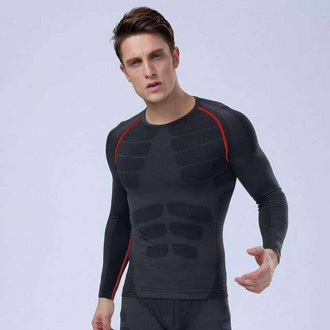 Buy the 2017 Men's Slimming Long Sleeve Compression T-shirt / Black/Red / L. Shop Compression Shirts Online - Kewlioo