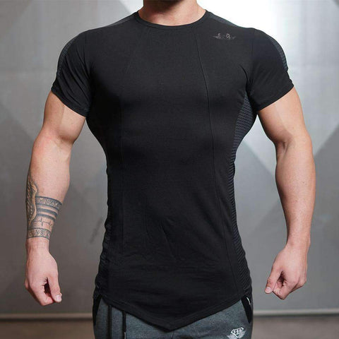 Buy the Body Fitting Short Sleeve Crossfit Shirt / Black / L. Shop T-Shirt Online - Kewlioo
