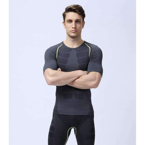 Buy the Men's Instant Slimming Corset T-Shirt / Grey/Lime / M. Shop Corset T-Shirt Online - Kewlioo