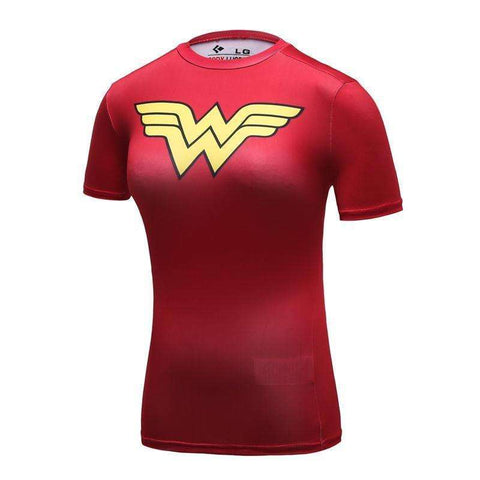 Buy the Red Wander Woman Superhero Compression T-Shirt. Shop Compression Shirts Online - Kewlioo