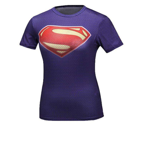 Buy the Purple Superwoman Short-Sleeve Compression Shirt. Shop Compression Shirts Online - Kewlioo