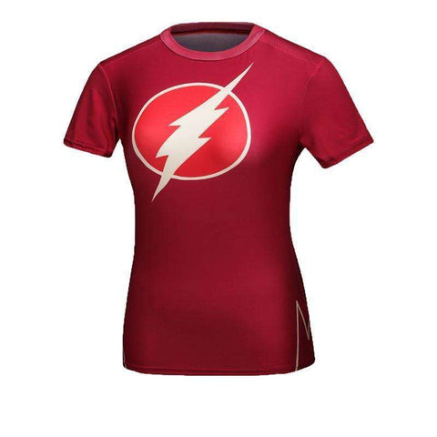 Buy the Flash Women Superhero Short Sleeve Compression Shirt. Shop Compression Shirts Online - Kewlioo