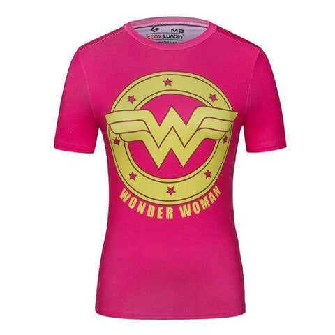 Buy the Pink Wonderwoman Superhero Short Sleeve Compression Rashguard / Wonder Woman / M. Shop Compression Shirts Online - Kewlioo