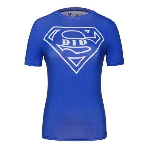 Buy the Blue Super Woman Short Sleeve Compression T-Shirt / Superman / M. Shop Compression Shirts Online - Kewlioo
