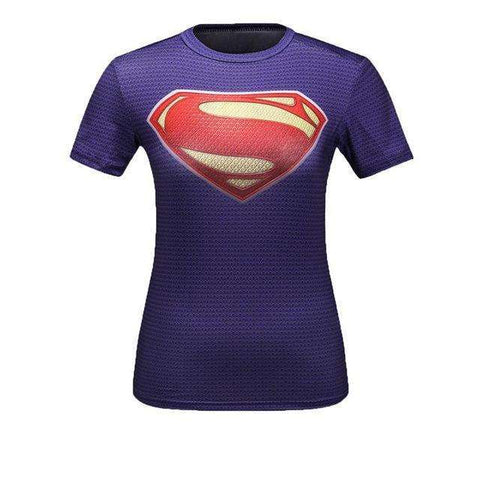 Buy the Purple Superwoman Short-Sleeve Compression Shirt / Superman / M. Shop Compression Shirts Online - Kewlioo