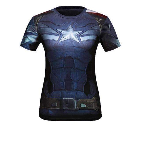 Buy the 2017 Captain America Women's Superhero Compression Shirt / Captain America / M. Shop Compression Shirts Online - Kewlioo