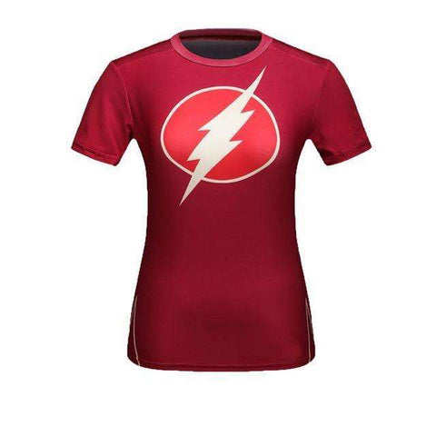 Buy the Flash Women Superhero Short Sleeve Compression Shirt / Flash / M. Shop Compression Shirts Online - Kewlioo