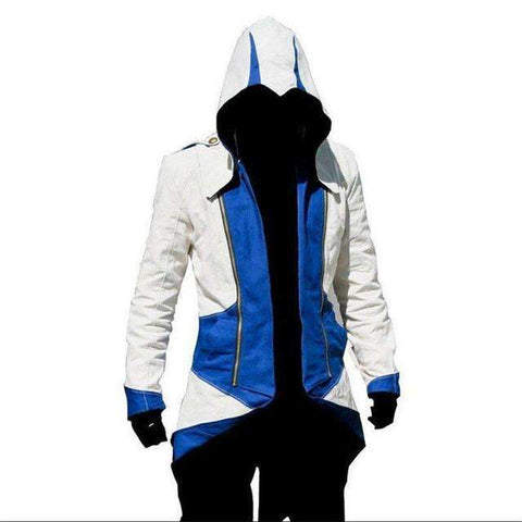 Buy the Assassin's Creed Jacket / White/Blue / S. Shop Sweatshirts Online - Kewlioo