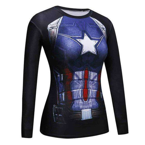 Buy the Women's Captain America Superhero Long Sleeve Compression Shirt / Captain America / L. Shop Compression Shirts Online - Kewlioo