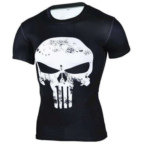 Buy the Skull Short-Sleeve Compression T-Shirt / Black/White / S. Shop Compression Shirts Online - Kewlioo