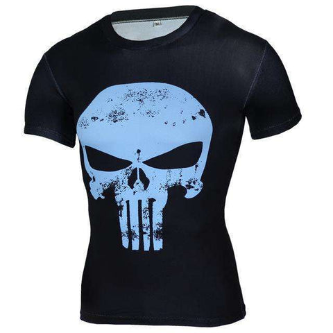 Buy the Skull Short-Sleeve Compression T-Shirt / Black/Light Blue / S. Shop Compression Shirts Online - Kewlioo
