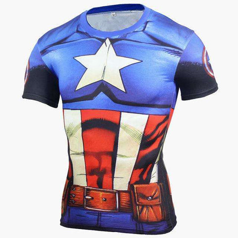Buy the Captain America Superhero Short Sleeve Compression T-Shirt / Captain America / S. Shop Compression Shirts Online - Kewlioo