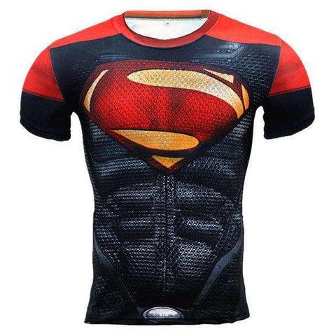 Buy the Red Superman Superhero Short Sleeve Compression Rashguard / Superman / S. Shop Compression Shirts Online - Kewlioo