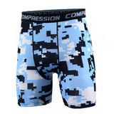 Buy the Men's Camouflage Compression Shorts / Teal Black Camo / S. Shop Compression Shorts Online - Kewlioo
