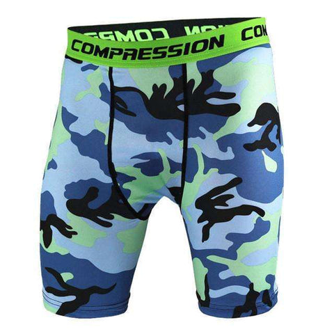 Buy the Men's Camouflage Compression Shorts / Teal Camo / S. Shop Compression Shorts Online - Kewlioo